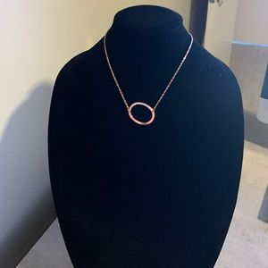 "Large Initial letter ""O"" Necklace Rose Gold"